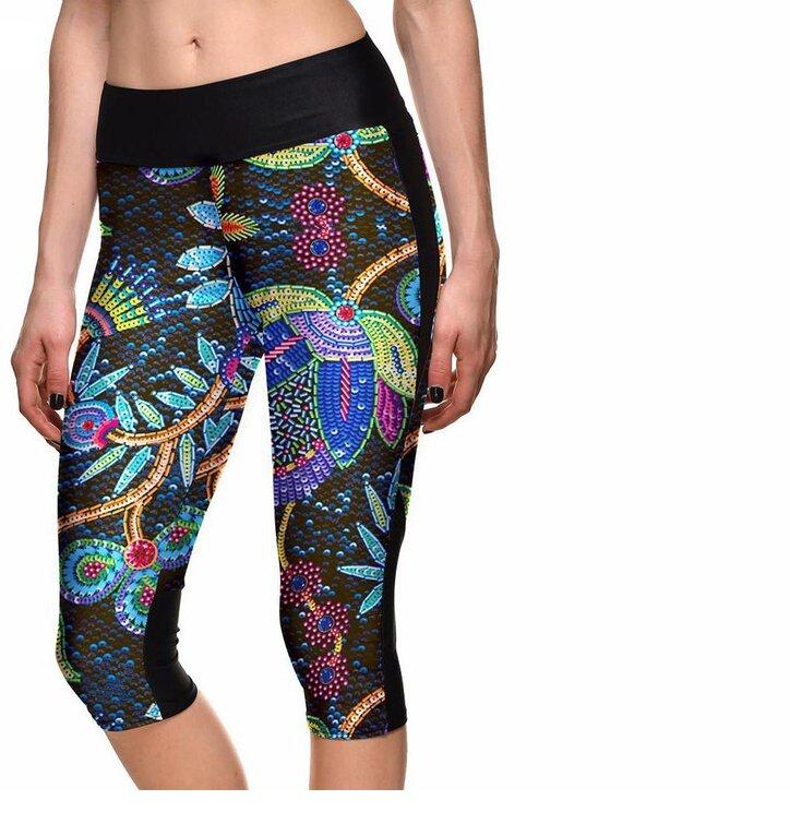Damen Sport Capri Leggings Neonblumen