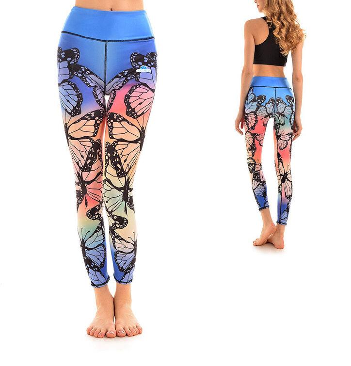 Damen Sport Elastisch Leggings Regenbogen-Schmetterlinge