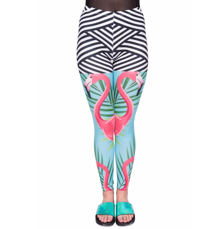 Damen Leggings elastisch Flamingo Tag
